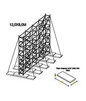 Construction - 12,0x8,0m - fixée sur les ballasts