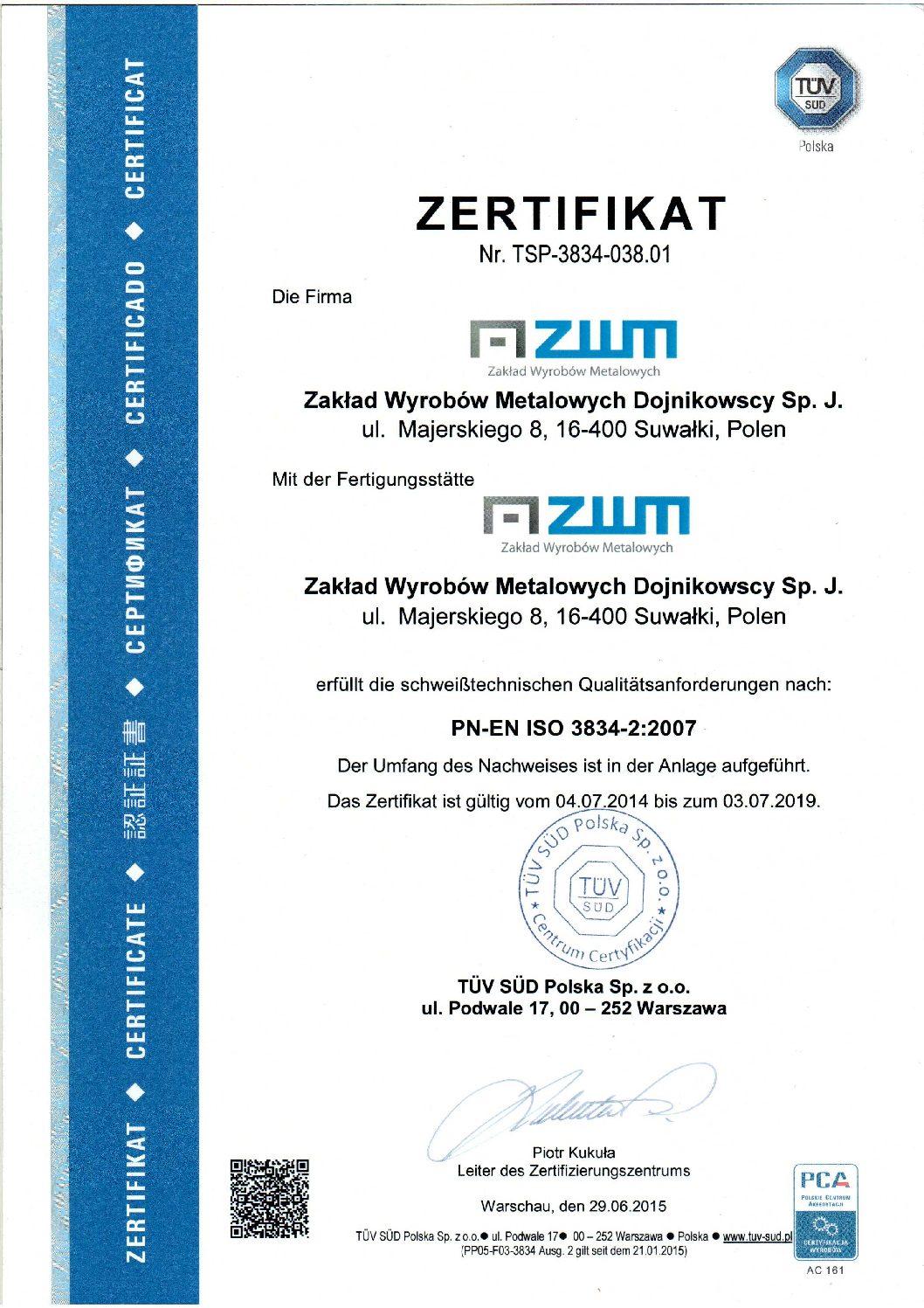 Certificate PN-EN ISO 3834-2 de