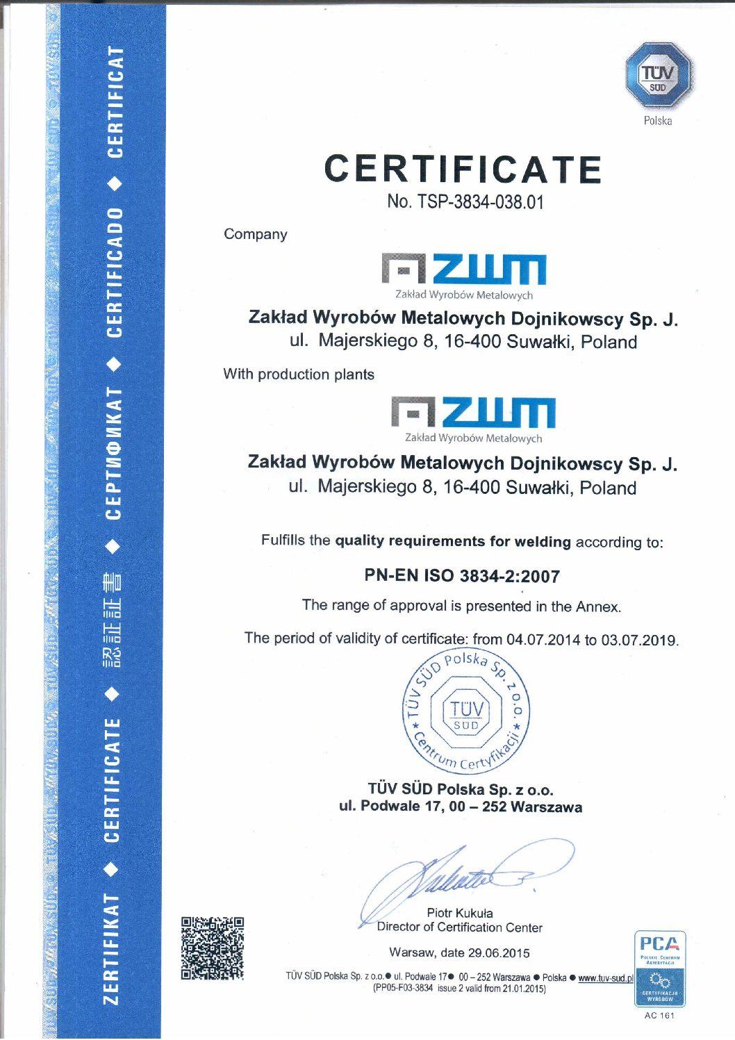Certificate PN-EN ISO 3834-2 en