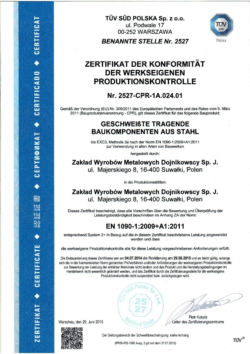 Certificate of Conformity EN 1090 de