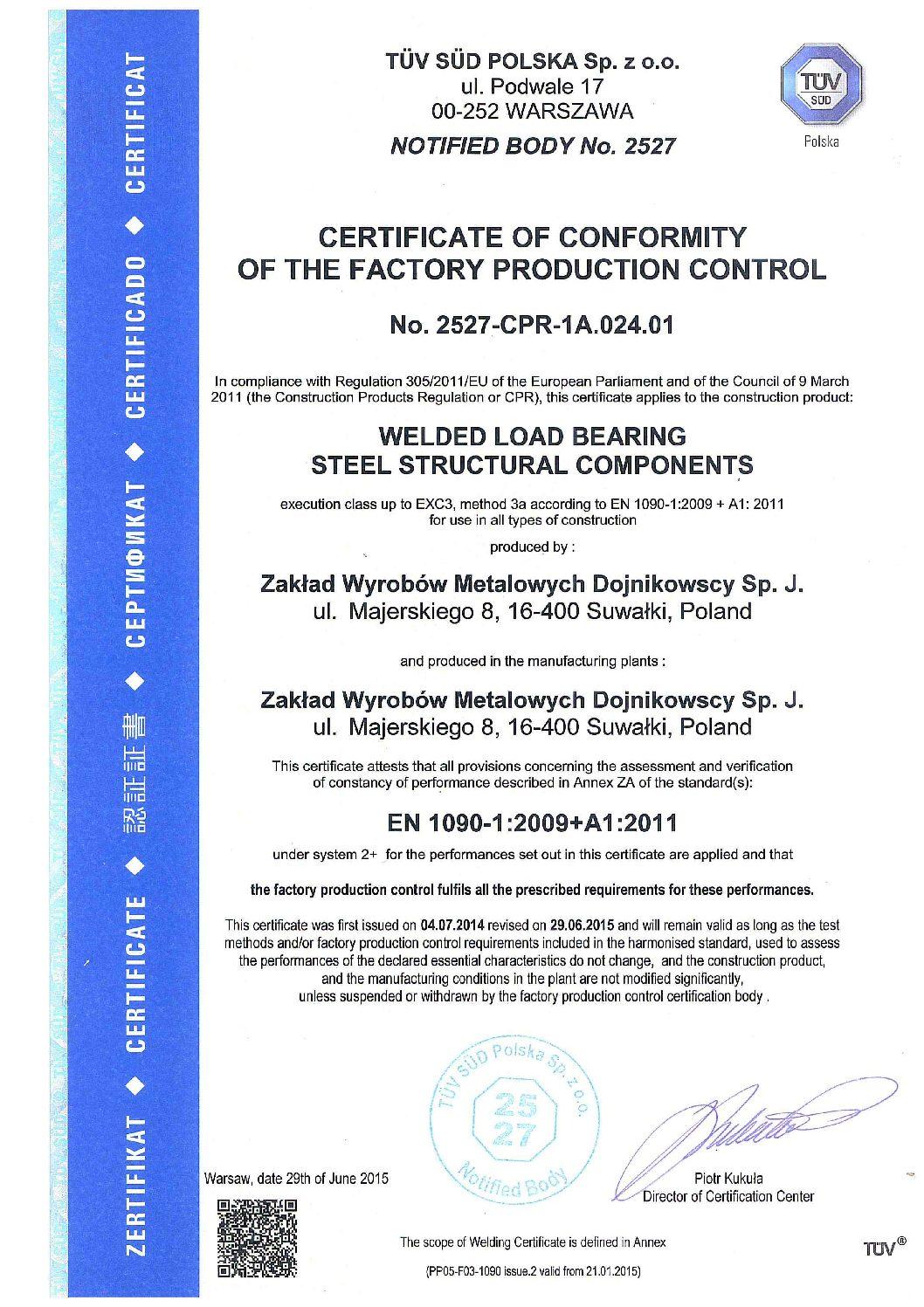 Certificate of Conformity EN1090 en