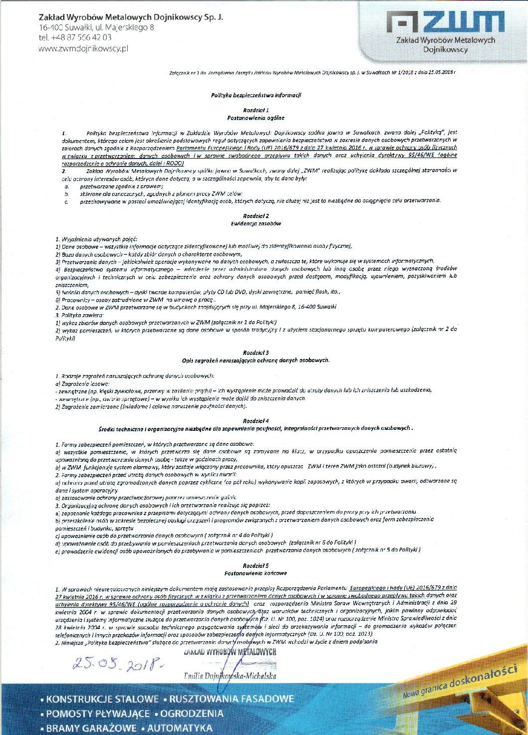ZWM Dojnikowscy – Polityka bezpieczeństwa informacji