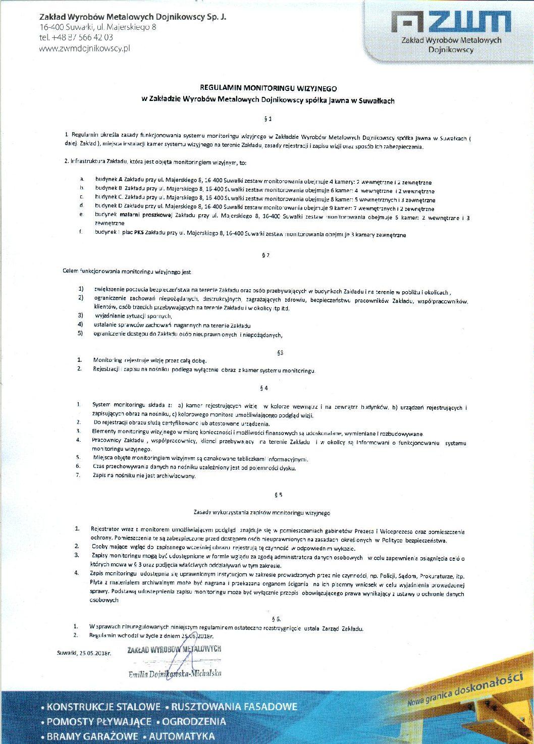 ZWM Dojnikowscy – Regulamin monitoringu wizyjnego