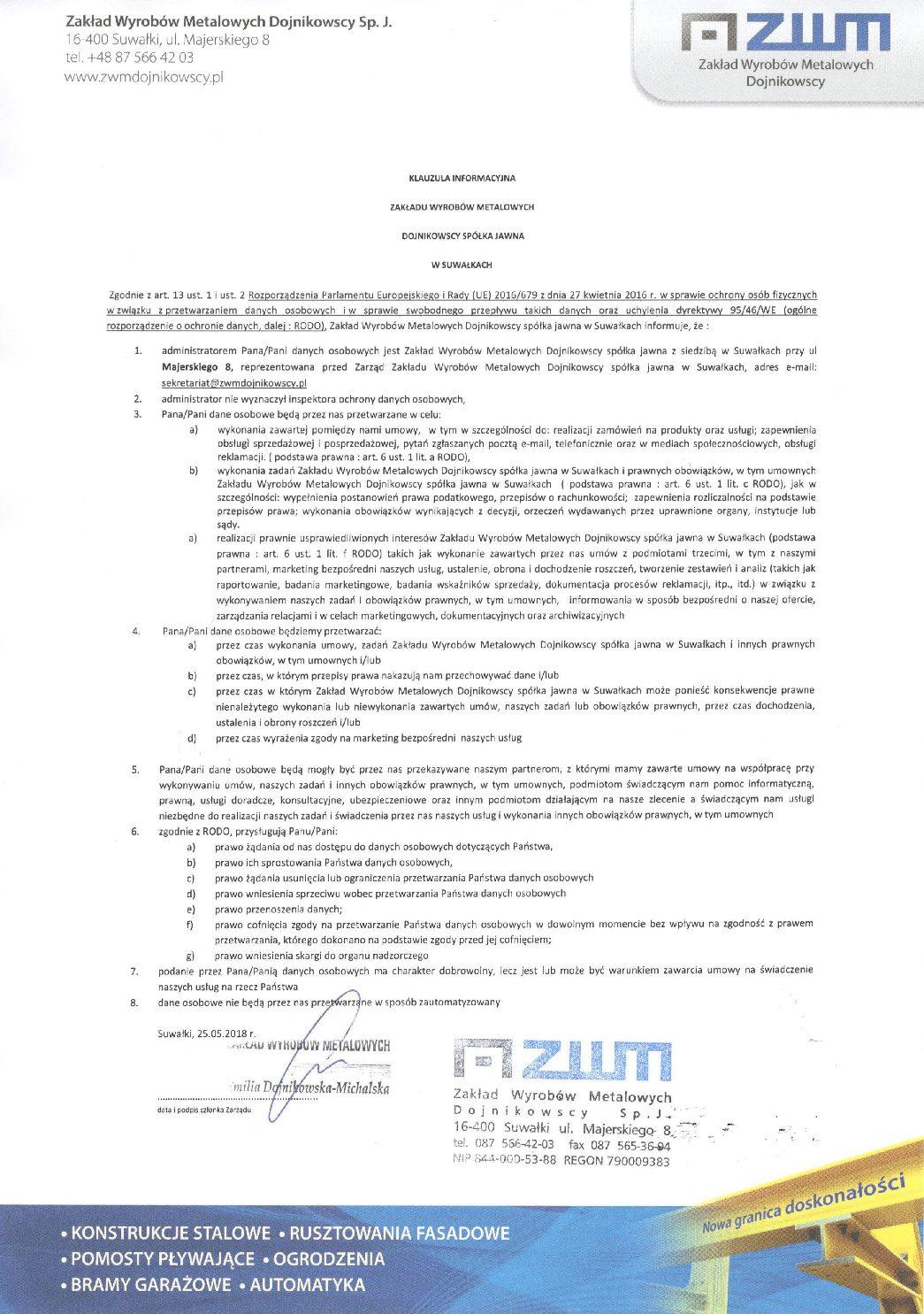 ZWM Dojnikowscy – Rozporządzenie dotyczące RODO