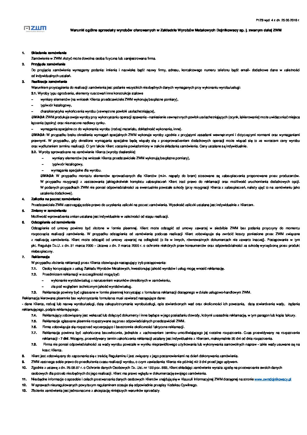 ZWM Dojnikowscy – Warunki ogólne sprzedaży wyrobów