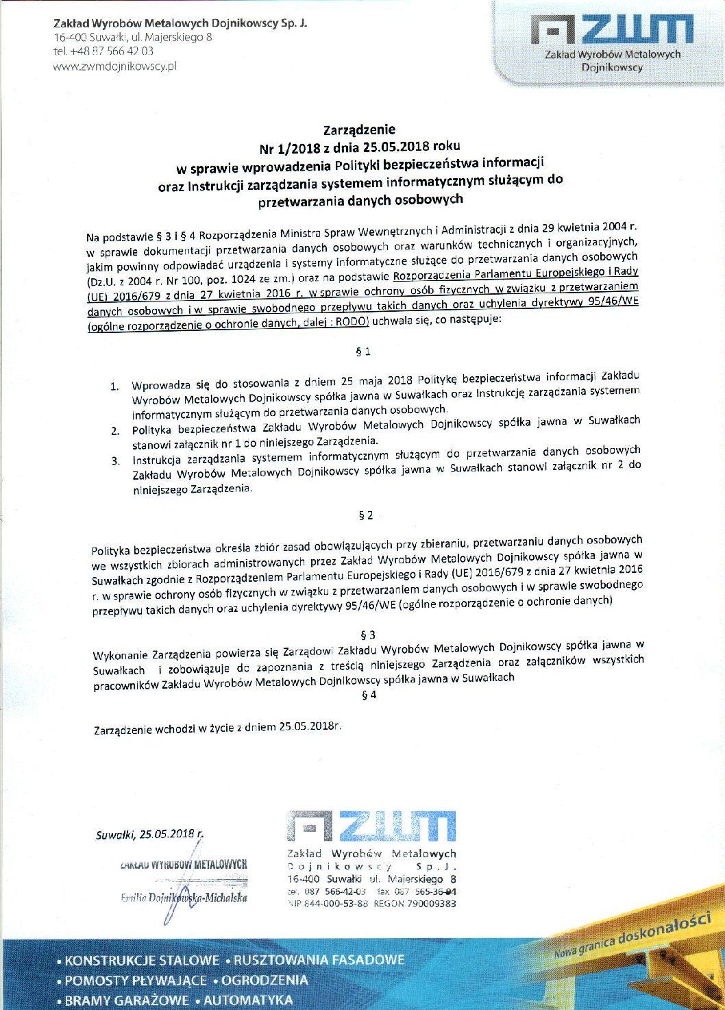 ZWM Dojnikowscy – Zarządzenie 1 2018